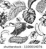tropical hand drawn semless...   Shutterstock .eps vector #1100014076