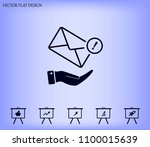 mail envelope on the hand  mail.... | Shutterstock .eps vector #1100015639