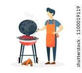 man preparing sausages bbq on...   Shutterstock .eps vector #1100019119