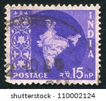 india   circa 1957  stamp... | Shutterstock . vector #110002124