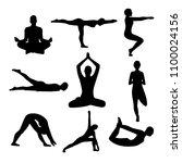 silhouette yoga poses | Shutterstock .eps vector #1100024156
