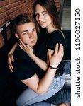 the lovely couple in love... | Shutterstock . vector #1100027150