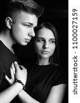 the lovely couple in love...   Shutterstock . vector #1100027159