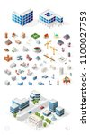 build your own isometric city . ... | Shutterstock .eps vector #1100027753