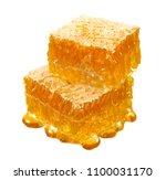 pile of honey comb slices... | Shutterstock . vector #1100031170