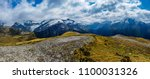 snowy mountains and yellow... | Shutterstock . vector #1100031326