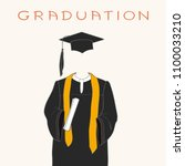 graduation gown  cap and... | Shutterstock .eps vector #1100033210