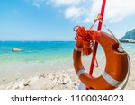 close up of a life buoy in... | Shutterstock . vector #1100034023