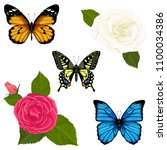 vector set with butterflies and ... | Shutterstock .eps vector #1100034386