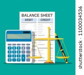 balance sheet with calculator ... | Shutterstock .eps vector #1100034536
