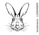 vector image of a rabbit head. | Shutterstock .eps vector #1100040890
