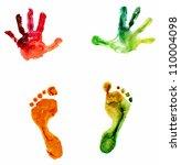 watercolor colorful handprint... | Shutterstock . vector #110004098