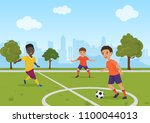 boys kids playing soccer... | Shutterstock .eps vector #1100044013