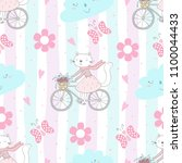 seamless pattern with cute... | Shutterstock .eps vector #1100044433
