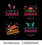 festa junina party design set.... | Shutterstock .eps vector #1100045663