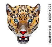 big cat leopard polygonal... | Shutterstock .eps vector #1100046023