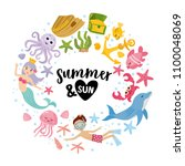 summer and sun. summer greeting ... | Shutterstock .eps vector #1100048069
