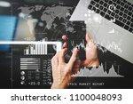 investor analyzing stock market ... | Shutterstock . vector #1100048093