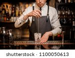 professional bartender stirring ... | Shutterstock . vector #1100050613
