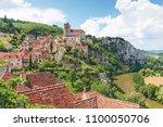 village of saint cirq lapopie... | Shutterstock . vector #1100050706