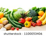 set of different fruits and... | Shutterstock . vector #1100053406
