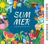 summer background with various... | Shutterstock .eps vector #1100054870