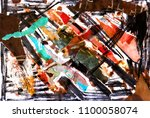 saturated abstract art collage... | Shutterstock . vector #1100058074