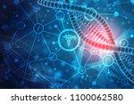 3d render of dna structure in... | Shutterstock . vector #1100062580
