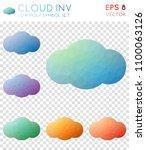 cloud inv geometric polygonal... | Shutterstock .eps vector #1100063126