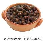 black olives in terracotta bowl | Shutterstock . vector #1100063660