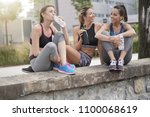 group of athletic girls talking ... | Shutterstock . vector #1100068619