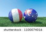 two soccer balls in flags... | Shutterstock . vector #1100074016