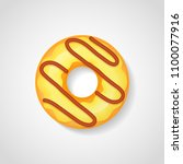 sweet donut with yellow glaze...   Shutterstock .eps vector #1100077916