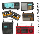 cartoon illustrations of old... | Shutterstock .eps vector #1100079353