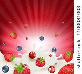 berry mix border with gradient... | Shutterstock .eps vector #1100081003