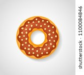 sweet donut with chocolate...   Shutterstock .eps vector #1100084846