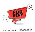 red flat line banner for rent   Shutterstock .eps vector #1100088893