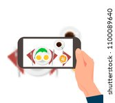 hand with the phone taking...   Shutterstock .eps vector #1100089640