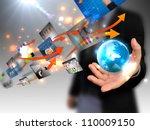 businessman holding world ... | Shutterstock . vector #110009150