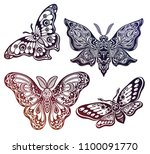 a collection of butterflies or... | Shutterstock .eps vector #1100091770
