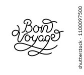 bon voyage hand lettering vector | Shutterstock .eps vector #1100097500