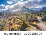 mountains at tierra del fuego ... | Shutterstock . vector #1100108309