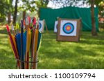 Small photo of Aim concept with a low angle view across green grass of targets and a arrows in the foreground