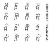hand offering line icon set.... | Shutterstock .eps vector #1100118086