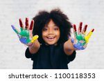 african american playful and... | Shutterstock . vector #1100118353