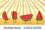 watermelon summer party   group ... | Shutterstock .eps vector #1100120330
