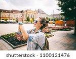 beautiful young woman girl... | Shutterstock . vector #1100121476