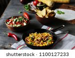 corn with bacon in a frying... | Shutterstock . vector #1100127233