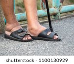 the feet of man with diabetes ...   Shutterstock . vector #1100130929