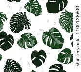 vector monstera leaves.... | Shutterstock .eps vector #1100138600